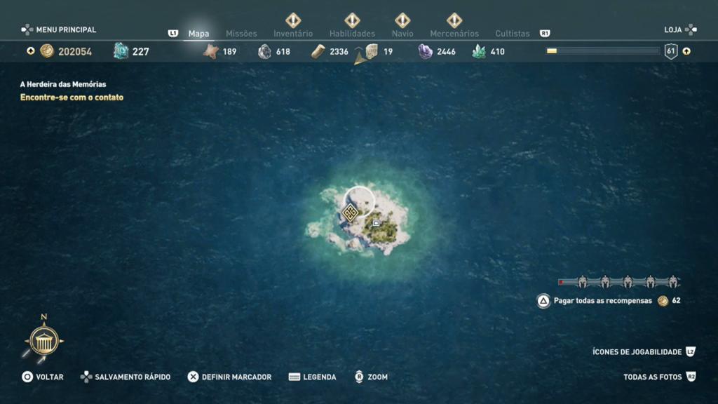 Assassin's Creed Odyssey trident poseidon respirar debaixo dagua