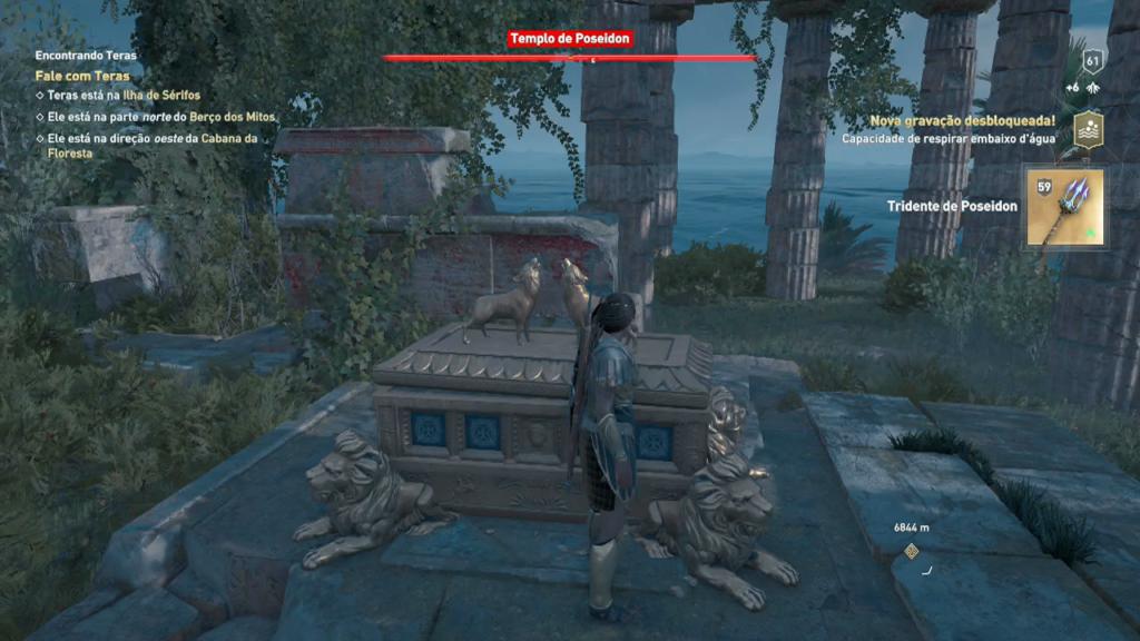 Assassin's Creed Odyssey tridente de Poseidon entralhe respirar embaixo d'água