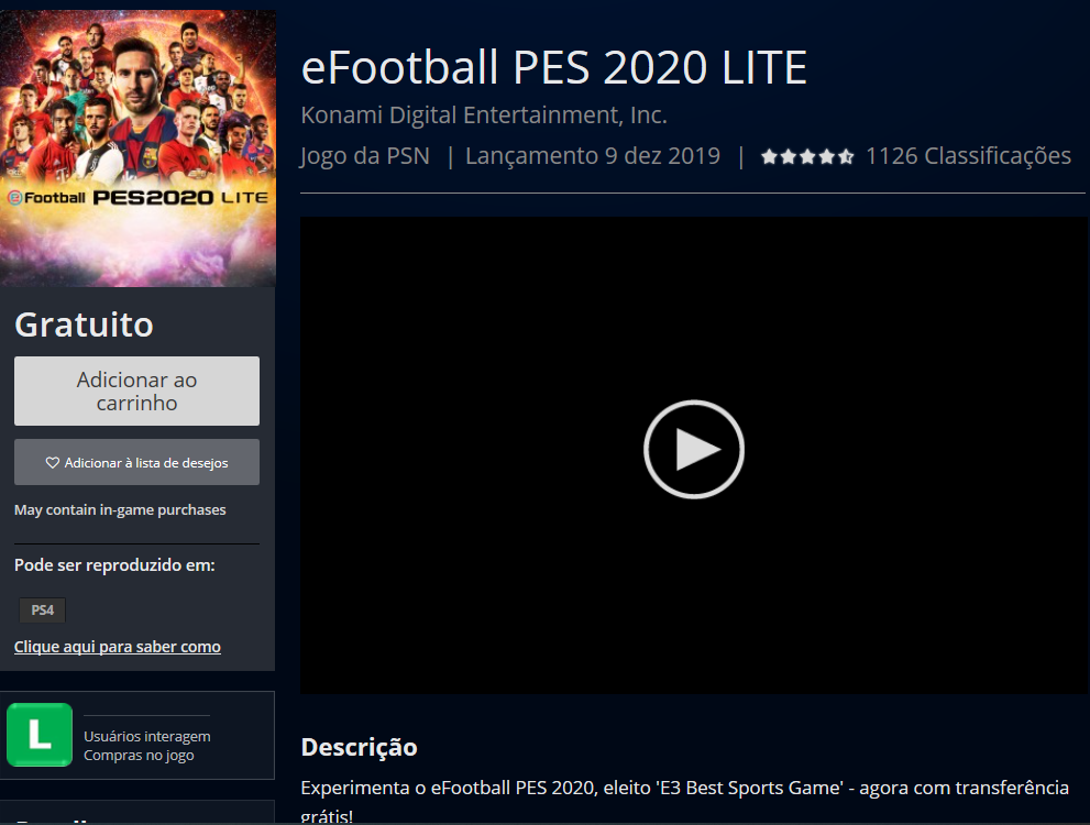 efootball Pes 2020 lite grátis gratuito gratuitamente