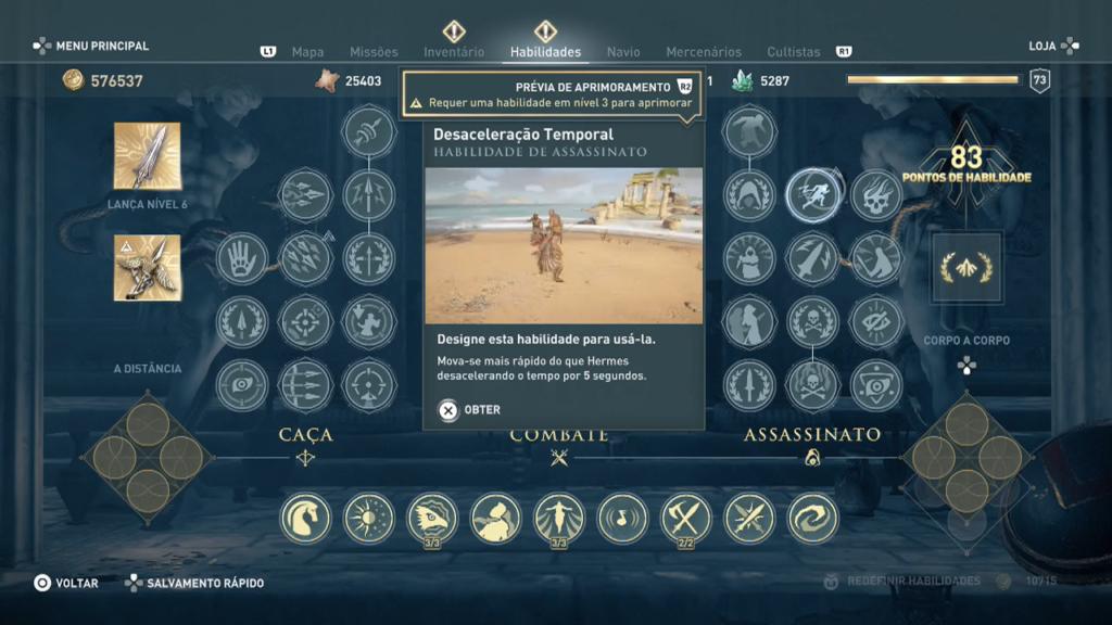 Assassins Creed Campos de elisio habilidade desaceleração temporal