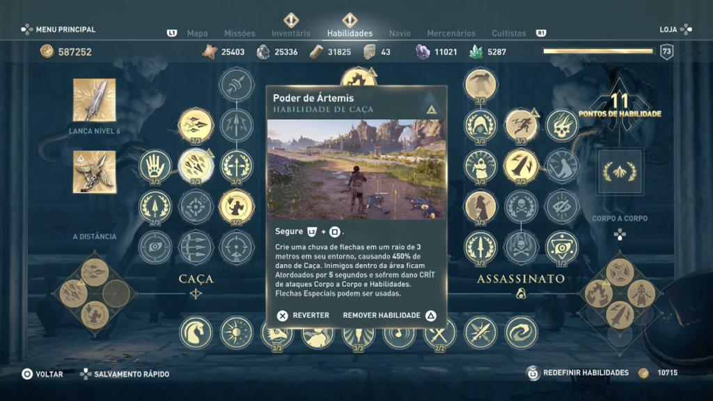Assassins Creed Campos de elisio habilidade poder de artemis