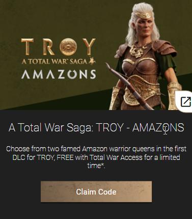 Total War Saga Troy DLC Amazons codigo