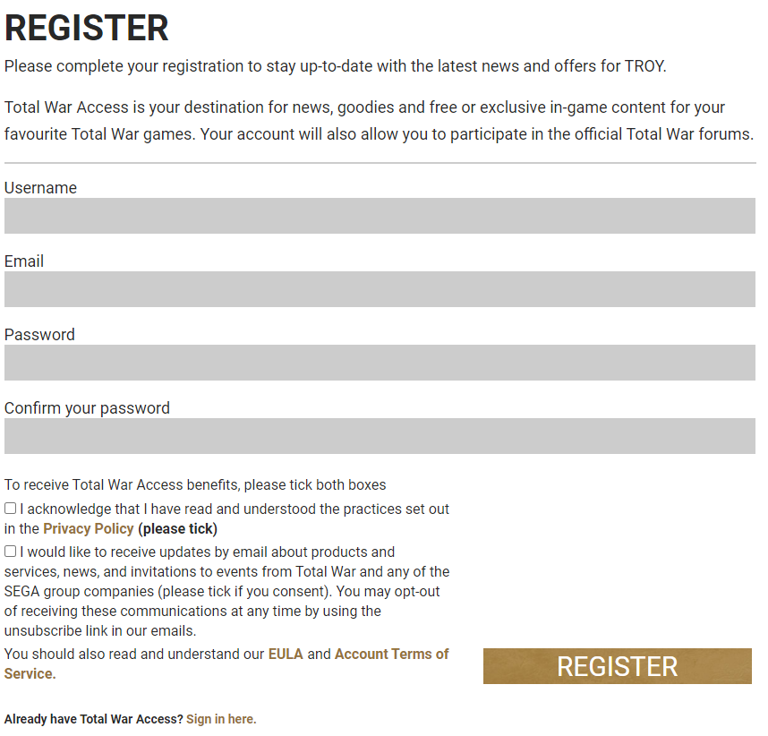 Total War Saga Troy DLC Amazons register