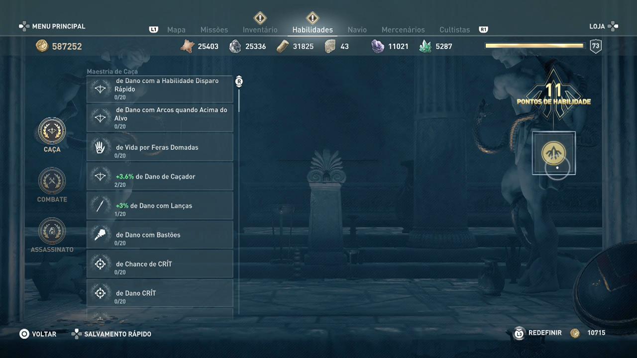 Assassin's Creed Odysseypontos de habilidade upando a vida