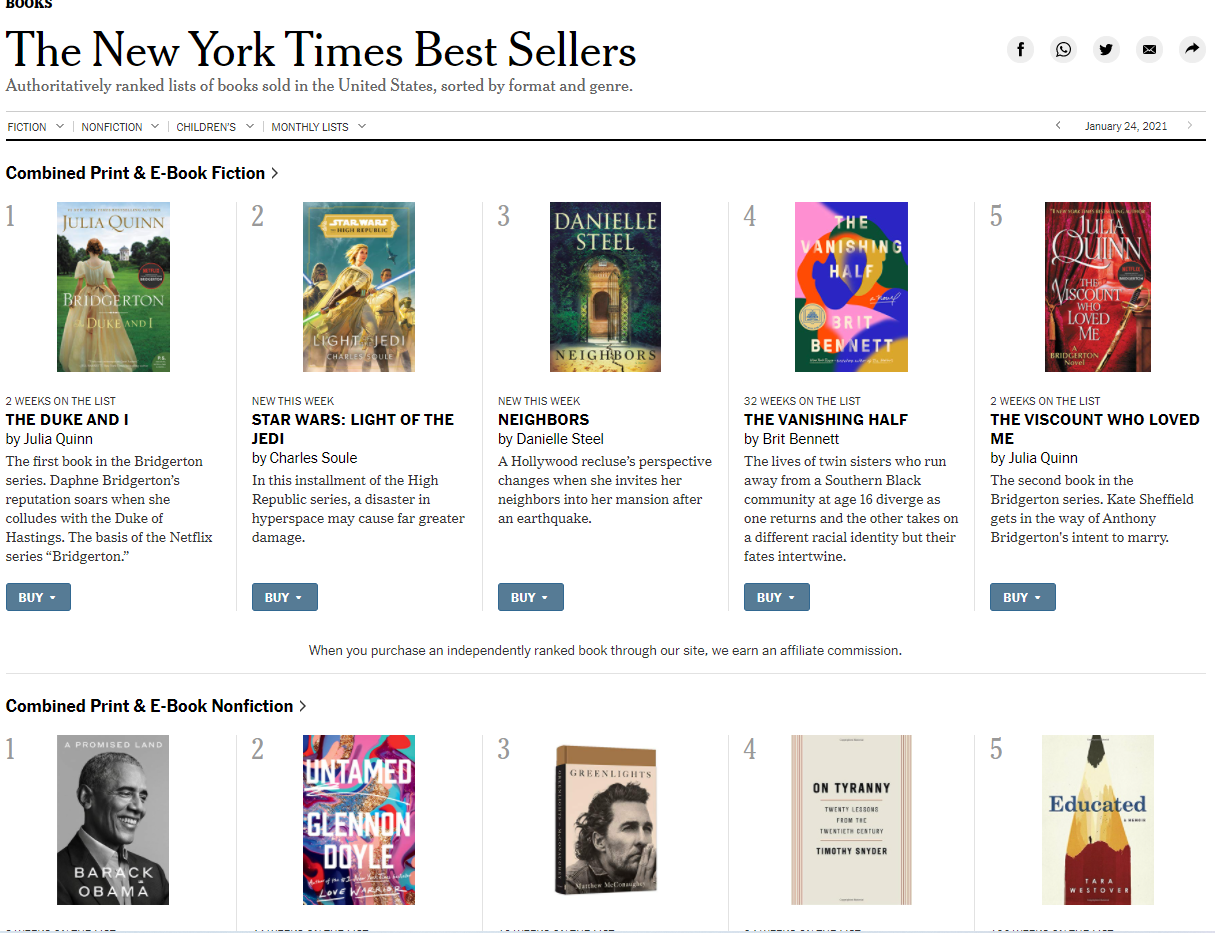 the new york times best sellers