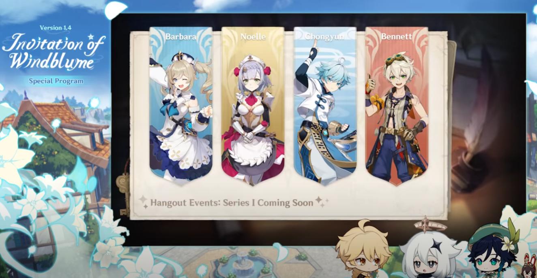 Genshin Impact 1.4 hangouts event quatro personagens