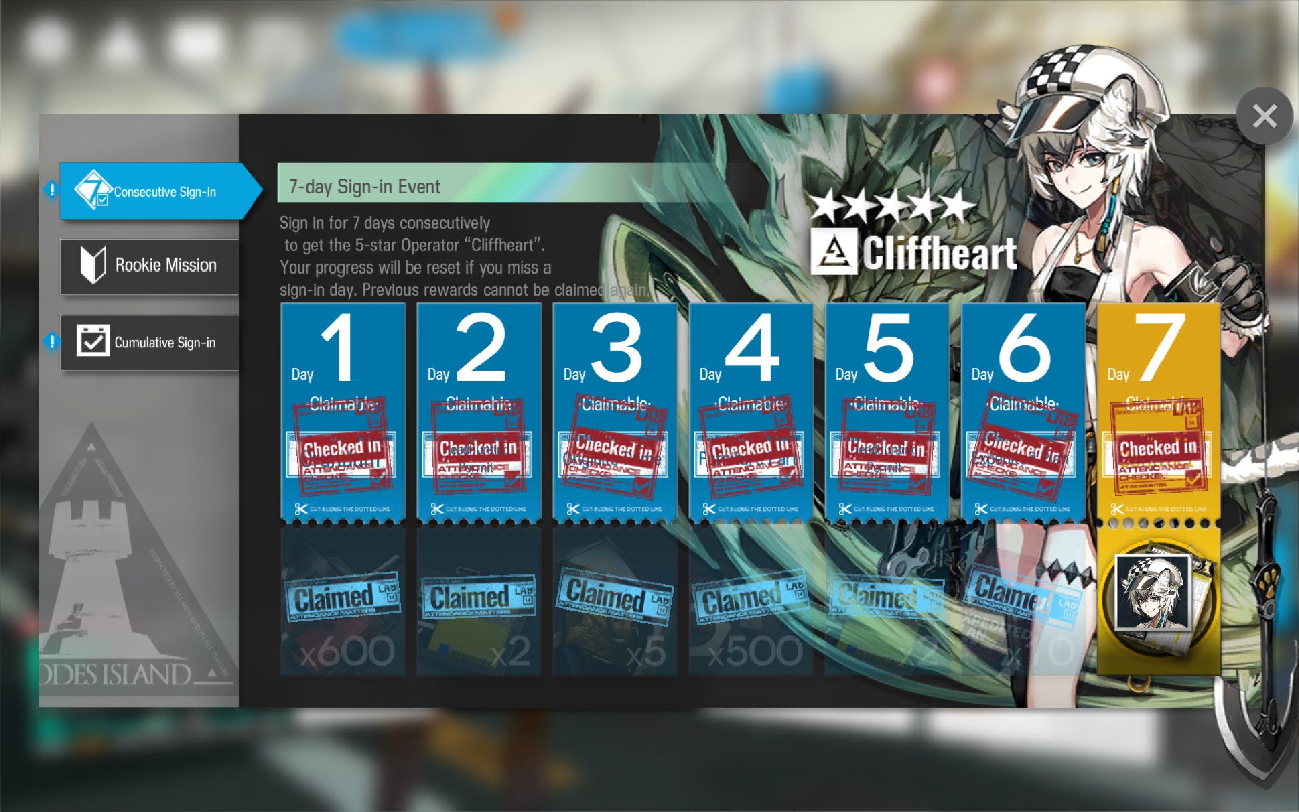 operador cliffheart 7 dias seguidos arknights