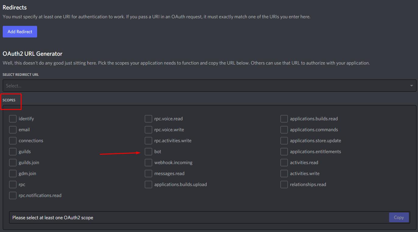 Como convidar seu bot para o servidor discord 02