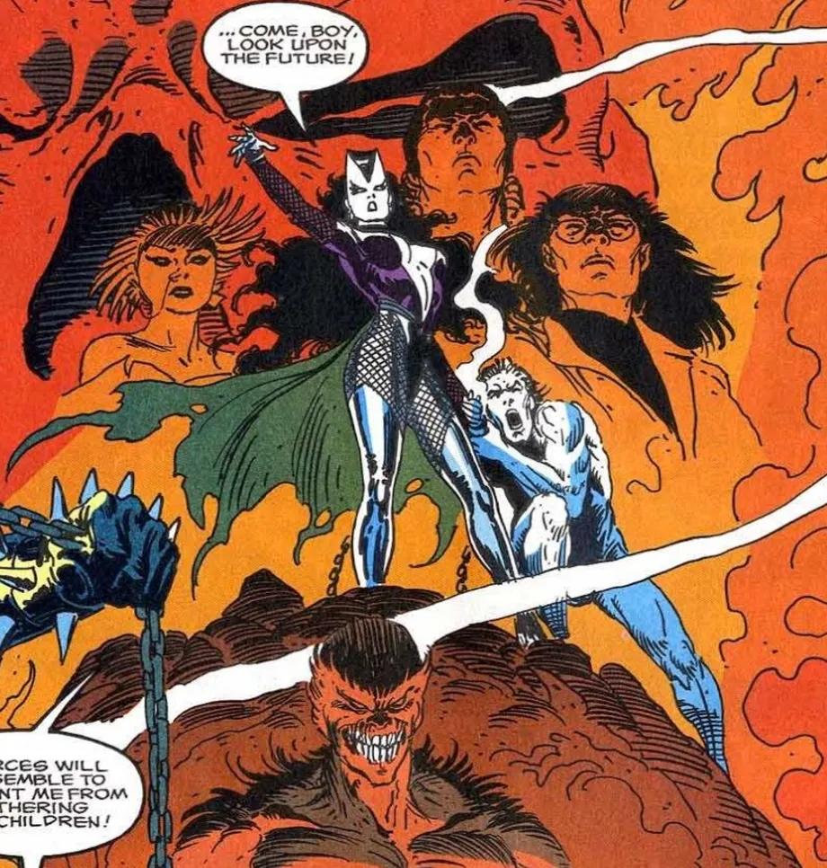 Lilith, Mãe dos Demônios, retratada em Ghost Rider vol. 2 28 em agosto de 1992. Imagem Howard Mackie, Andy Kubert e Joe Kubert Marvel Comics